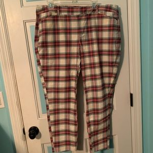 Old Navy Plaid Trousers Size 16 -cream multi color